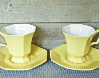 Independence Ironstone Interpace Yellow Cup and Saucer Sets (2 Cups 2 saucers),  Vintage, Retro Dinneeware, Coffee, Tea Mugs, White Interior
