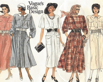1980s Womens Step In Dress Blouson Waist Slim or Flared Skirt & Sleeve Variations Vogue Sewing Pattern 1497 Size 8 10 12 Bust 31 1/2 to 34