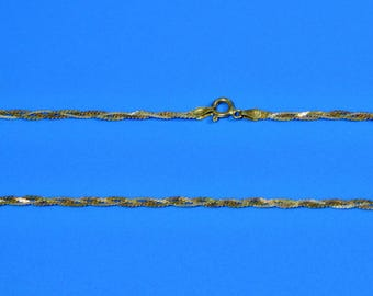 Vintage Silver Gold Flat Braid Chain 20 inch Necklace Tricolor