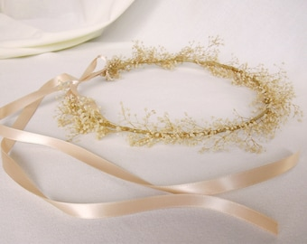Flower girl Halo Bridal headpiece babys breath Hair accessory dried Flower crown Photo prop baby floral headband First Communion