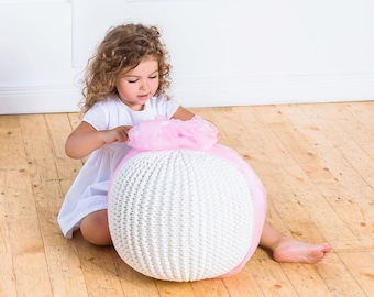 Pouf for baby | Pouf Floor cushion Ottoman Footstool Floor pillow Pouf ottoman Nursery decor Kids room decor Bedroom decor Pouf Knit