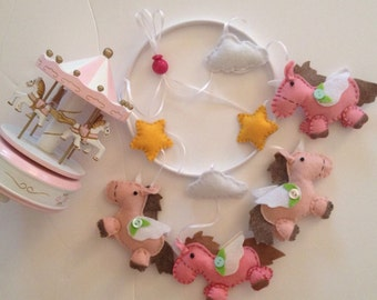 Baby mobile with unicorns and starlets, mobile