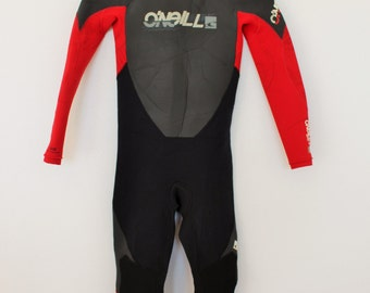 O' NEILL Wetsuit Blackout Zip Womens Full Wetsuit  Black Gray Red One Piece Surfer Kiteboarding Wetsuit Medium size 12