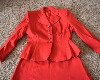 1940s Cherry Red Wool Dress Suit
