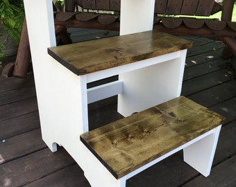Rustic 3 Step Stool, Step Stool, Pet Stool