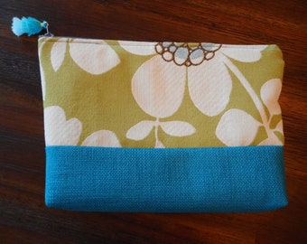 Green and teal cosmetic bag, turquoise pouch, cosmetic bag, cosmetic pouch, zippered pouch, makeup bag, travel bag, makeup pouch, upcycled