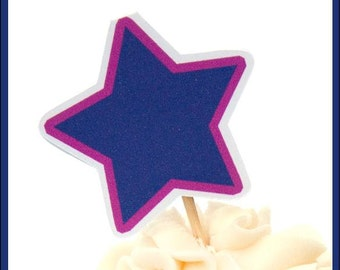 Girls Rock Party - Set of 12 Purple Star Toppers by The Birthday House
