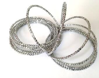 Silver Stacking Beaded Bracelet