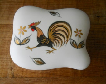 Vintage Ucagco Rooster Trinket Box With Lid and Golden Accents