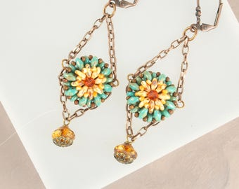 Southwestern Jewelry, Sunflower Earrings, Sundance Boho Earrings, Turquoise Earrings,  Seed Bead Earrings Chandelier Earrings Tribal Jewelry