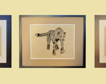 Safari Wall Hangings Prints Set of 3 - Hand Screen Printed Linen - African Theme Art Prints Makes a Unique Gift
