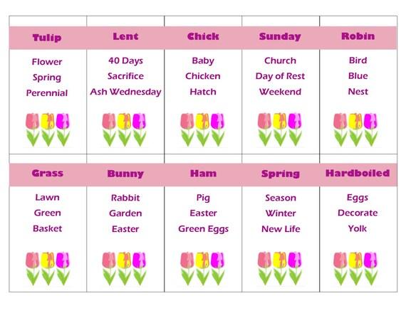 Druckbare Ostern und Frühling Spiel Tabu Karten