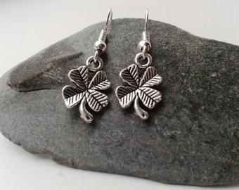 Silver Four Leaf Clover Earrings, Small Silver Earrings, Lucky Charm Earrings, Good Luck Jewellery, Tiny Silver Earrings, Drop Earrings