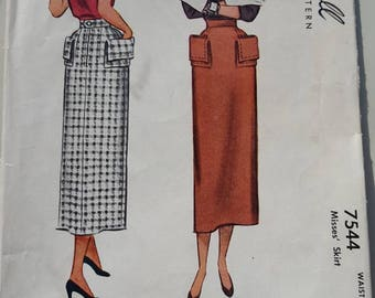 Vintage McCall 7544 Sewing Pattern Pencil Skirt