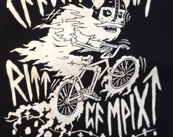 """GHOST BIKE rune """"may your ghost ride on forever"""" TEE (half profits to bikes not bombs)"""
