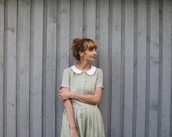 Linen Dress - Peter Pan Collar Dress - Midi Dress - Classic Dress - Handmade Dress - Pleated Skirt Dress - Handmade by OFFON