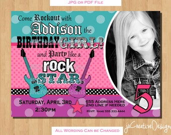 rockstar invitation rockstar birthday rock star invitation rocker invitation rock star birthday rock star party rockstar party girl photo