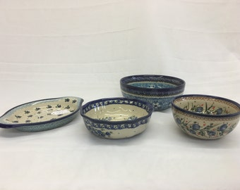 Polish Ceramic Dishes Set of 4