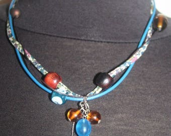 Bias liberty/cords, leather, beads and Charms Necklace