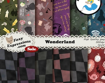 Wonderland Digital Paper Pack comes with Tweedle Dee & Dum, Queen of Hearts, White Rabbit, Cheshire Cat, Caterpillar, Alice and Mad Hatter