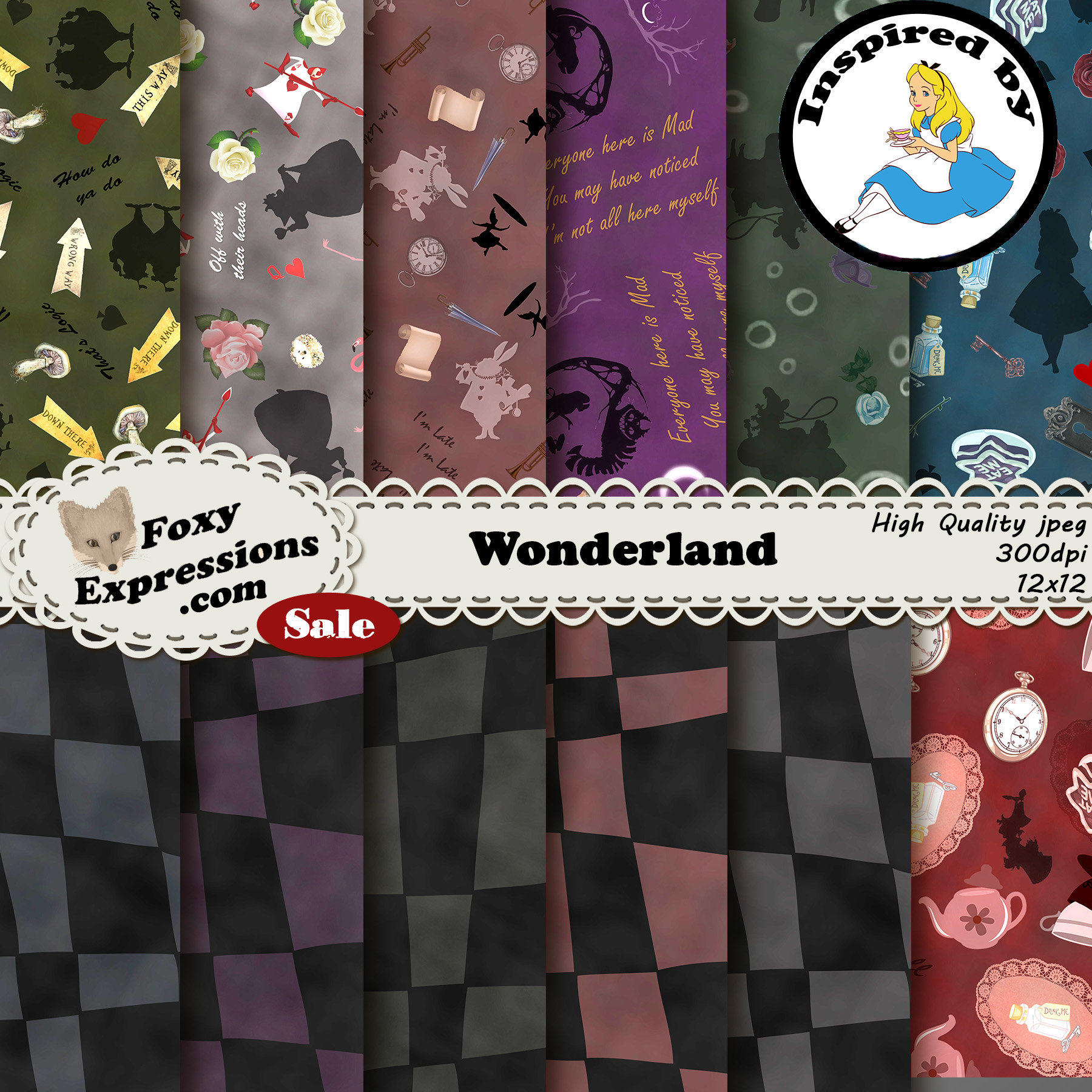 Wonderland Digital Paper Pack Comes With Tweedle Dee Dum Queen Of Hearts White Rabbit Cheshire Cat Caterpillar Alice And Mad Hatter