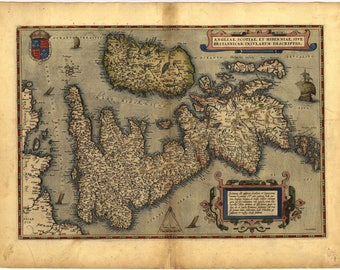 Antique Map of Britain, by Abraham Ortelius, circa 1570 - unique gift or home decor- A vintage printable digital image no 102