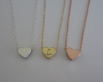 Initial Necklace. Personalized Heart Jewelry. Initial Silver. Gold or Rose Gold Heart Pendant. Layering Necklace. Friendship. Birthday Gift.