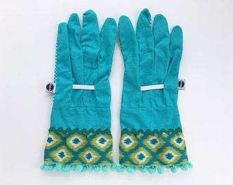 Tribal Pattern Gardening Gloves with Mint Pom Poms. Blue Work Gloves for Women. Mother's Day Gift. Gardener Present. Gift Under 30 for Her.