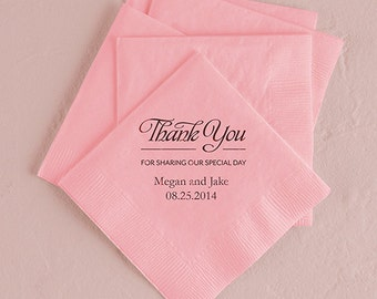 Thank You Personalized Wedding Napkins (Pack of 100)