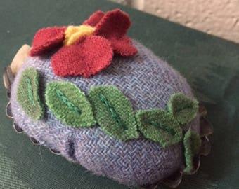 Pincushion - Retro Metal Mold with Wool Flower - Repurposed