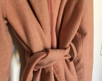VINTAGE long pink coat with silk lining