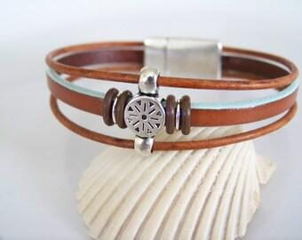 Brown Leather Tribal Focal Bracelet - Item R6238