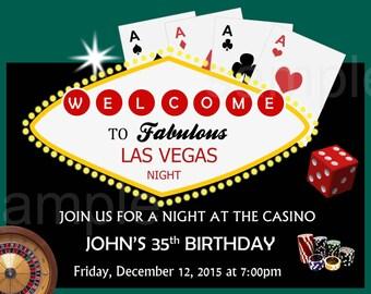 Casino Invitation. Casino Birthday Invitation. Casino Party Invitation. Digital (you print)