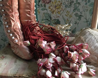 FAB Antique Vintage Millinery Fabric Flowers Bunch Maroon Stems Pink White Buds