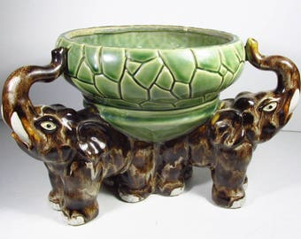 Three Triple elephant trunk up good luck Chinese planter.