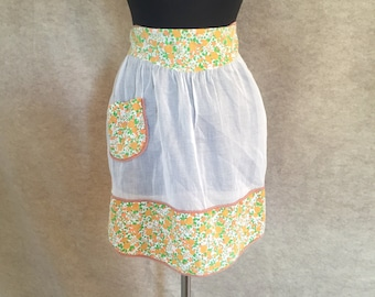 Vintage 60's Apron, Half Apron, Sweet Floral Print, Orange, Yellow, Green and White, with Pocket