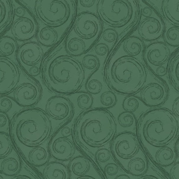 Holiday Green Swirls,  Merry Christmas. Quilt Fabric by the Yard 6930 66