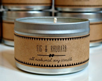 FIG & RHUBARB // Soy Candle. Natural Candle. Scented Candle. Eco Friendly. Vegan Friendly. Gift for Her. Christmas Gift.