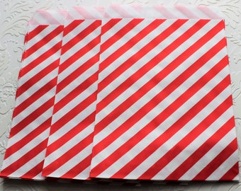 Red and White Striped Paper Bag- Gift Bag, Notion Bag, Party Favor, Party Supply, Shop Supply, Treat Bag, Merchandise Bags