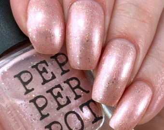 Soft Frosty Baby Pink Silver Flake Nail Polish Bath Beauty Planet Claire Gift For Her Pepper Pot Polish