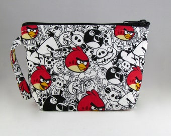 White Angry Birds Makeup Bag - Accessory - Cosmetic Bag - Pouch - Toiletry Bag - Gift