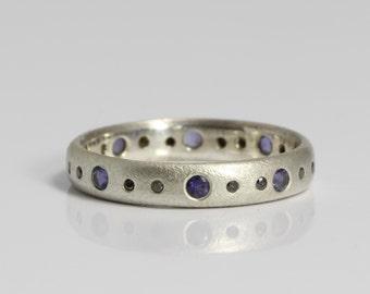 Unique Eternity Ring / Black Diamond Eternity Ring / Black Diamond Statment Ring / Black Diamond Ring / Iolite Silver Eternity Ring 4mm wide