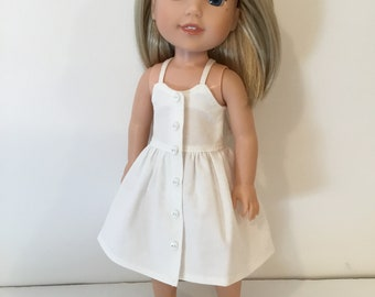 "14.5"" Doll Clothes - White Cotton Halter Dress - To fit Wellie Wishers Doll"