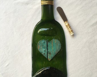 Heart Melted Wine Bottle Cheese Tray / Wine Bottle Spoon Rest / Recycled Wine Bottle