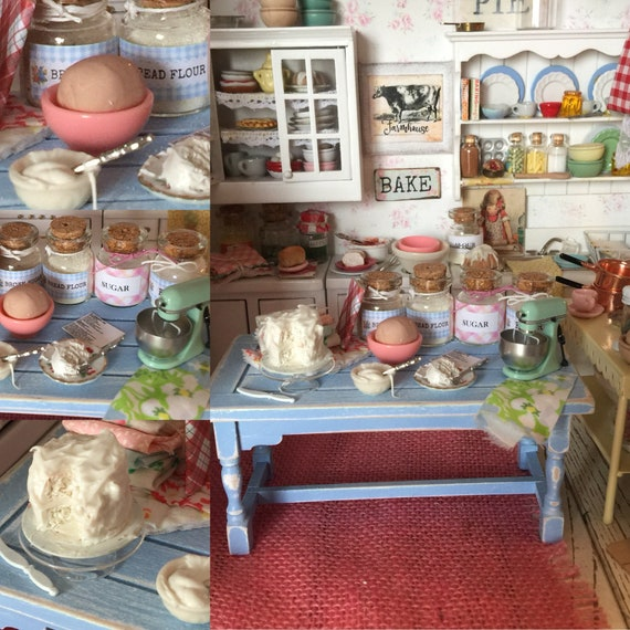 Miniature Spring Cake Baking Distressed Blue Prep Table