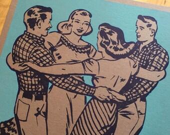 SQUARE DANCE Poster, Hands Around Basket turquoise Hand Printed Letterpress, southern art, gift for dancers, nostalgic art, linocut print