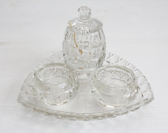 Antique Dutch Crystal Cruet Set Mustard Salt Pepper Ivory Spoon