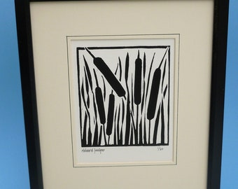 Bullrushes. Nature inspired limited edition linocut print