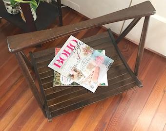 Mid Century Magazine Rack • Danish Modern Wood Folding Rack