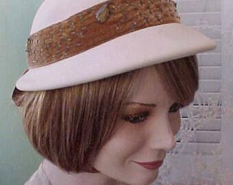 Darling Vintage 1950's Felt Hat with Jeweled Velvet Band